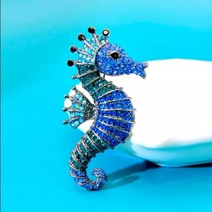 Blue Rhinestone Seahorse Brooch Pendant